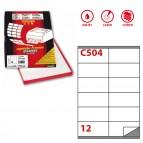 Etichetta adesiva C504 - permanente - 105x48 mm - 12 etichette per foglio - bianco - Markin - scatola 100 fogli A4