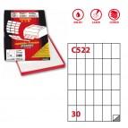 Etichetta adesiva C522 - permanente - 35x59 mm - 30 etichette per foglio - bianco - Markin - scatola 100 fogli A4