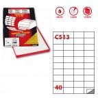 Etichetta adesiva C513 - permanente - 52x30 mm - 40 etichette per foglio - bianco - Markin - scatola 100 fogli A4
