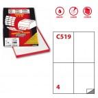 Etichetta adesiva C519 - permanente - 105x148 mm - 4 etichette per foglio - bianco - Markin - scatola 100 fogli A4