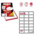 Etichetta adesiva A410 - permanente - 63,5x38,1 mm - 21 etichette per foglio - bianco - Markin - scatola 100 fogli A4