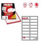 Etichetta adesiva A435 - permanente - 99,1x34 mm - 16 etichette per foglio - bianco - Markin - scatola 100 fogli A4