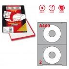 Etichetta adesiva A460 per CD - permanente - diametro CD 114,5 mm - foro 41 mm - 2 etichette per foglio - bianco - Markin - scatola 100 fogli A4