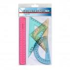 Geometry set Niji - in plastica - trasparente colorato assortito - 3591