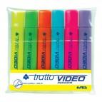 Evidenziatore Tratto Video -giallo,verde,arancio,azzurro,rosa,lilla- 1- 5 mm - 831000 (conf.6)
