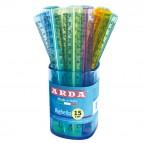 Barattolo 50 righelli - 15cm - colori trasparenti assortiti - Arda