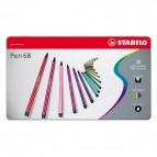 Pennarelli Pen 68 astucci e rotoli - 30 colori - Stabilo - scatola in metallo 30 pennarelli