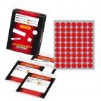 Etichetta adesiva - permanente - tonda ø 14 mm - 63 etichette per foglio - 10 fogli per busta - rosso - Markin