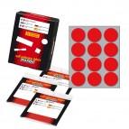 Etichetta adesiva - permanente - tonda ø 34 mm - 12 etichette per foglio - 10 fogli per busta - rosso - Markin