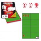 Etichetta adesiva C512 - permanente - 105x74 mm - 8 etichette per foglio - verde - Markin - scatola 100 fogli A4