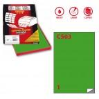 Etichetta adesiva C503 - permanente - 210x297 mm - 1 etichetta per foglio - verde - Markin - scatola 100 fogli A4