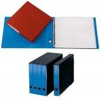 Portatabulati ad anelli - senza custodia (singolo) - dorso 5 cm - 31,5x42 cm - azzurro - Cartotecnica del Garda