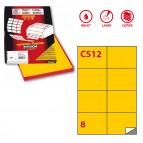 Etichetta adesiva C512 - permanente - 105x74 mm - 8 etichette per foglio - giallo - Markin - scatola 100 fogli A4