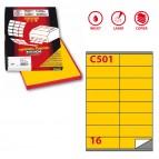 Etichetta adesiva C501 - permanente - 105x36 mm - 16 etichette per foglio - giallo - Markin - scatola 100 fogli A4