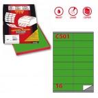Etichetta adesiva C501 - permanente - 105x36 mm - 16 etichette per foglio - verde - Markin - scatola 100 fogli A4