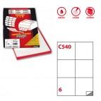 Etichetta adesiva C540 - permanente - 105x99 mm - 6 etichette per foglio - bianco - Markin - scatola 100 fogli A4