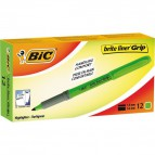Evidenziatore a penna Bic Highlighter Grip - verde - 811932 (conf.12)