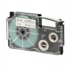 Nastro - 6 mm x 8 mt  - nero/trasparente - Casio