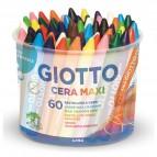 Pastelli cera maxi - lunghezza 100mm Ø11,50mm - Giotto - barattolo 60 pastelli