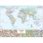 Carta geografica murale fisica e politica MONDO Belletti - 132x99 cm - MS02PL