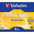 DVD Verbatim - DVD+RW - 4,7GB - 4x - Jewel case - 43229 (conf.5)