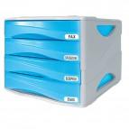 Cassettiera Smile Arda - blu traslucido - 4 cassetti - 5 cm - TR15P4PBL