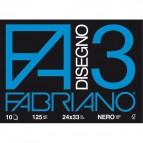 Fabriano disegno 3 - 24x33 cm - nero - 125 g/mq - 10 fogli - 04001017