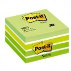 Blocco foglietti Cubo - 76 x 76mm - verde pastello, verde neon, verde ultra, bianco - 450 fogli - Post It
