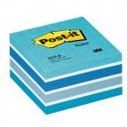 Blocco foglietti Cubo - 76 x 76mm - azzurro pastello, blu smeraldo, blu cielo, blu ultra, bianco - 450 fogli - Post It