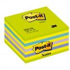 Blocco foglietti Cubo - 76 x 76mm - verde ultra, giallo neon, blu ultra, viola neon, blu - 450 fogli - Post It