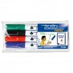 Pennarello a secco Tratto Memo per lavagne cancellabili - astuccio 4 colori - punta conica 2,5mm - Tratto