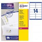 Etichetta adesiva L7163 - permanente - 99,1x38,1 mm - 14 etichette per foglio - bianco - Avery - conf. 100 fogli A4