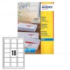 Etichetta adesiva J8161 - permanente - adatta a stampanti inkjet - 63,5x46,6 mm - 18 etichette per foglio - bianco - Avery - conf. 25 fogli A4