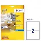 Etichetta adesiva J8168 - permanente - adatta a stampanti inkjet - 199,6x143,5 mm - 2 etichette per foglio - bianco - Avery - conf. 25 fogli A4