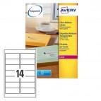 Etichetta adesiva L7563 - poliestere - adatta a stampanti laser - permanente - 99,1x38,1 mm - 14 etichette per foglio - trasparente - Avery - conf. 25 fogli A4