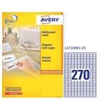 Etichetta adesiva L4730REV - rimovibile - adatta a stampanti laser - 17,8x10 mm - 270 etichette per foglio - bianco - Avery - conf. 25 fogli A4