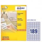 Etichetta adesiva L4731REV - rimovibile - adatta a stampanti laser - 25,4x10 mm - 18 etichette per foglio - bianco - Avery - conf. 25 fogli A4