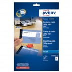 Biglietti da visita - 85 x 54 mm - 260 gr - effetto opaco - bianco - Avery - conf. 25 fogli da 8 biglietti