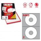Etichetta adesiva A463 per CD - permanente - diametro CD 117,5 mm - foro 41 mm - 2 etichette per foglio - bianco - Markin - scatola 100 fogli A4
