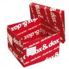 Scatola Dox&Dox - con coperchio - 39,5x28x35,5 cm - bianco e rosso - Esselte Dox