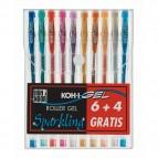 Roller gel colorati - colori glitter - Koh I Noor - astuccio 10 roller