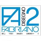 Fabriano disegno 2 - Liscio riquadrato - 24x33 cm - 4 angoli - 110 g/mq - 20 fg - 06201516