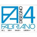 Fabriano disegno 4 - Liscio riquadrato - 24x33 cm - 220 g/mq - 20 fogli - 05201597