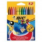 Plastidecor pastelli colorati - in plastica - colori assortiti - Bic - astuccio 12 colori