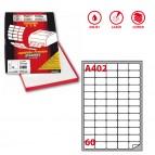 Etichetta adesiva A402 - permanente - 37,5x23,5 mm - 60 etichette per foglio - bianco - Markin - scatola 100 fogli A4