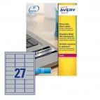Etichetta in poliestere L6011 - adatta a stampanti laser - permanente - 63,5x29,6 mm - 27 etichette per foglio - argento - Avery - conf. 20 fogli A4