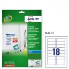 Etichetta magnetica J8871 - permanente - adatta a stampanti inkjet - 78x28 mm - 18 etichette per foglio - bianco - Avery - conf. 5 fogli A4