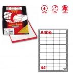 Etichetta adesiva A406 - permanente - 47,5x25,5 mm - 44 etichette per foglio - bianco - Markin - scatola 100 fogli A4