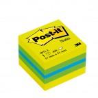 Blocco foglietti Minicubo - giallo neon, verde ultra, turchese ultra - 51 x 51mm - 400 fogli - Post It