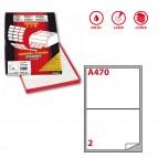 Etichetta adesiva A470 - permanente - 199,6x143,5 mm - 2 etichette per foglio - bianco - Markin - scatola 100 fogli A4